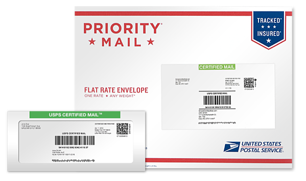Certified Mail Envelope and Label